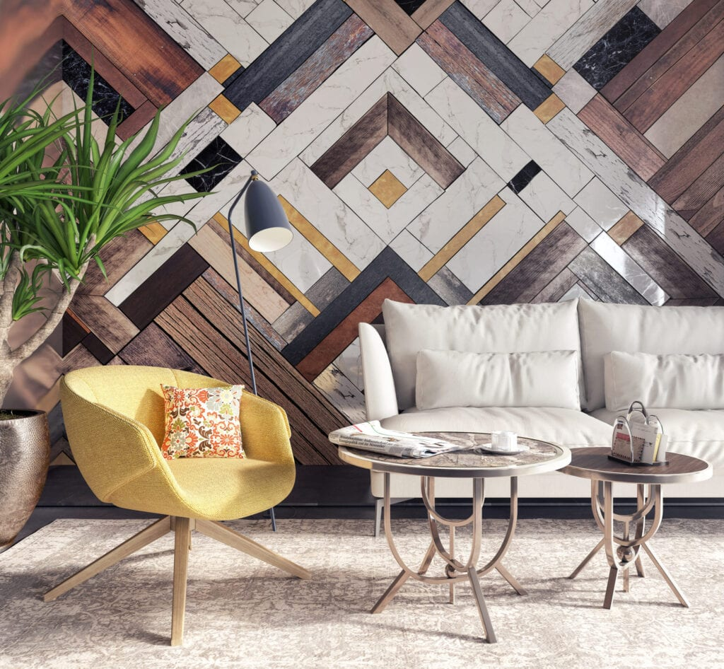Modern interior with yellow armchair in front of a accent wall 3D Rendering