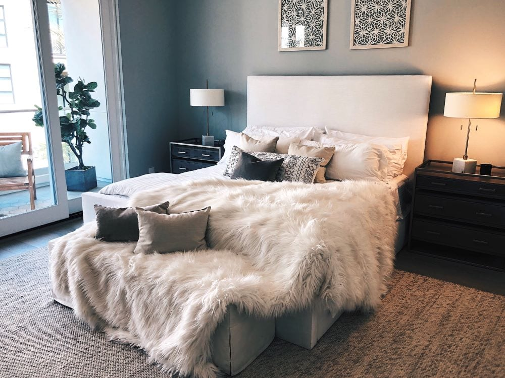 Bedroom in luxury apartment