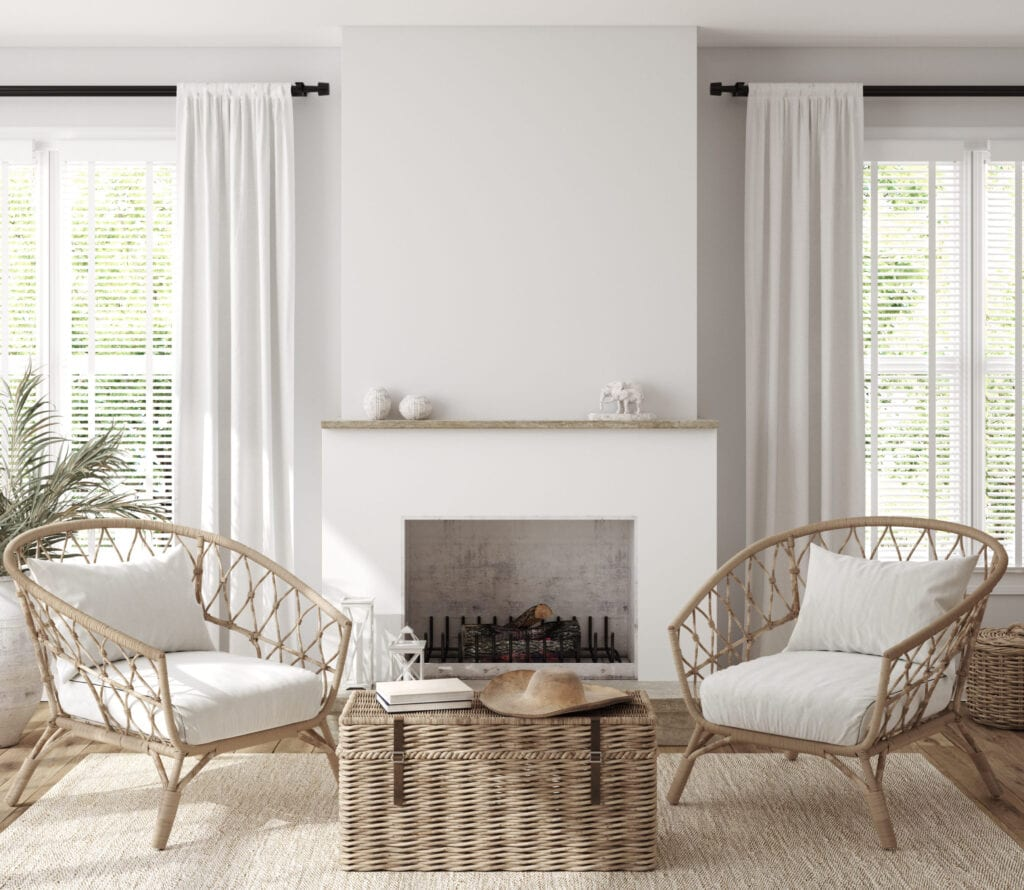 Farmhouse style living room, fireplace and wicker furniture