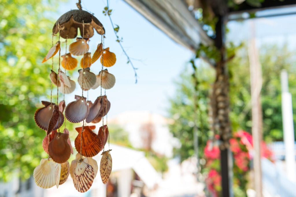 Hanging seashells decoration on Lefkada streets, Greece