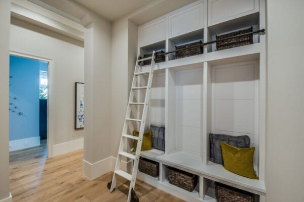 Mudroom with built in shelves and cubbies