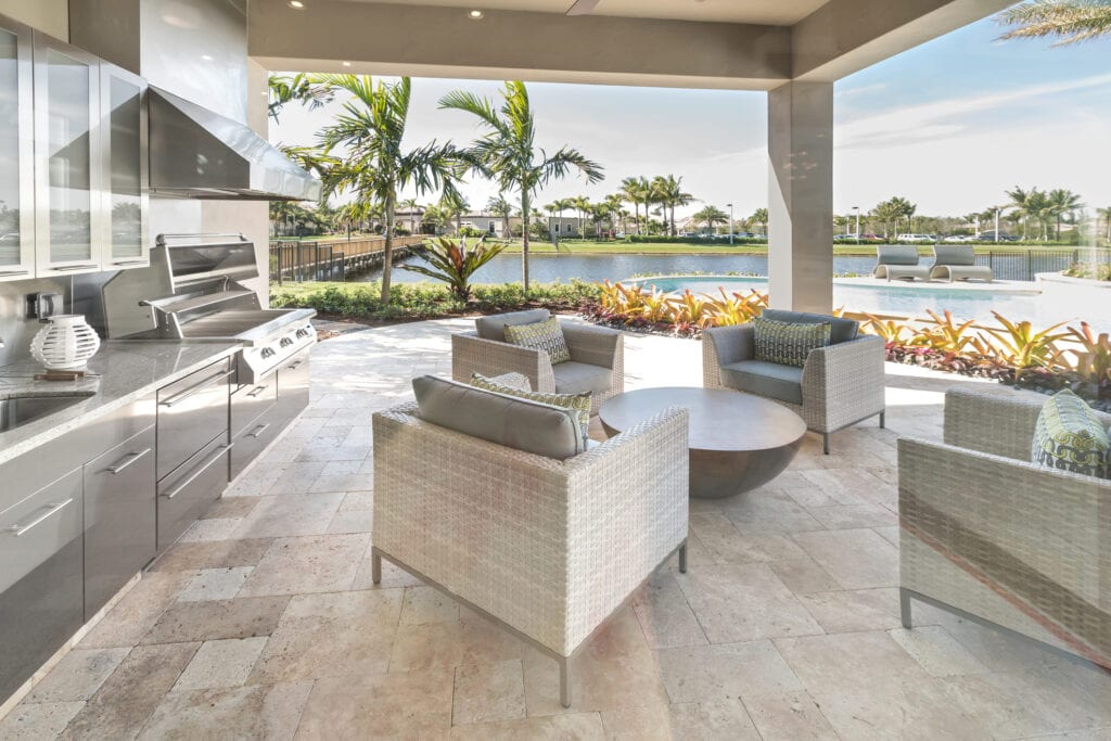 Outdoor patio with kitchen