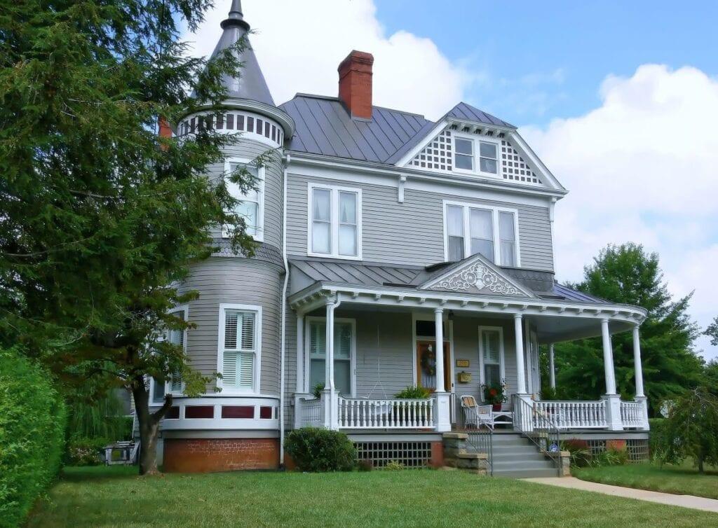 Beautiful gray Victorian mansion