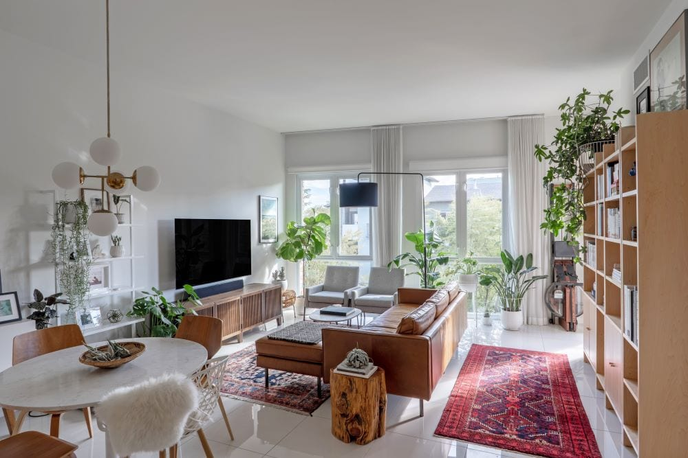 Apartment living room, soundproofed with curtains, bookshelf, and rugs