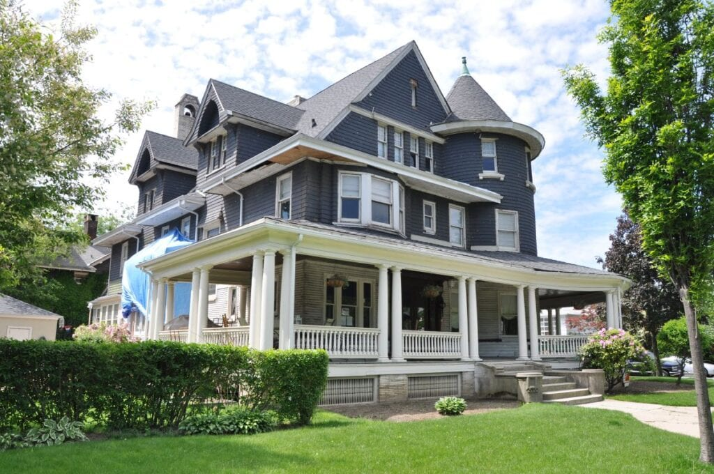 Exterior of blue-gray Victorian house