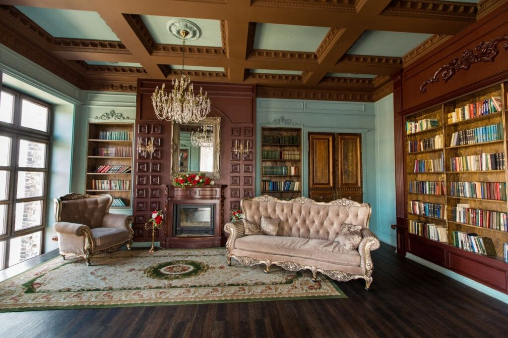 Elegant library inside Victorian style home