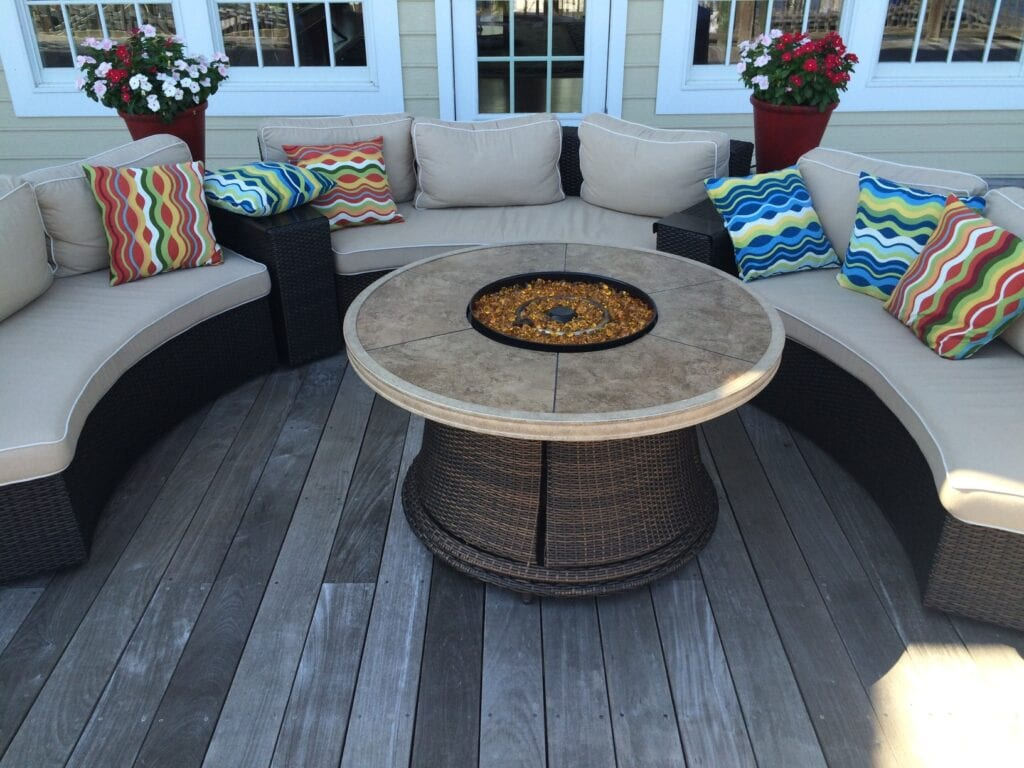 Sofa with fire pit