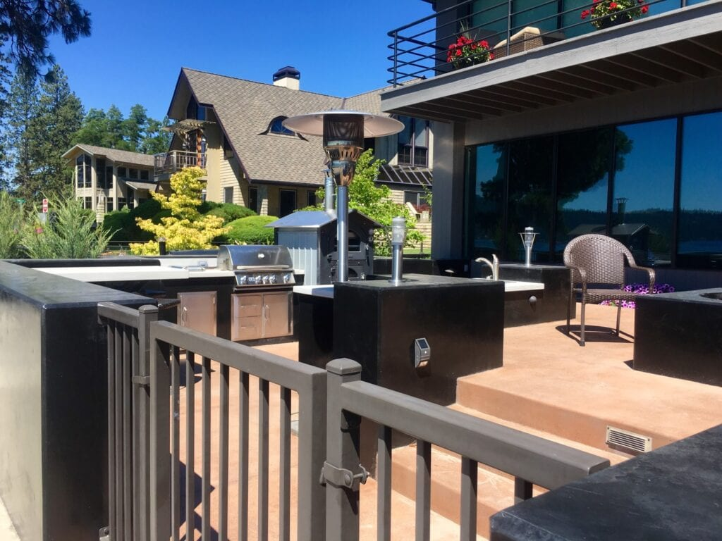 Outdoor grill on patio
