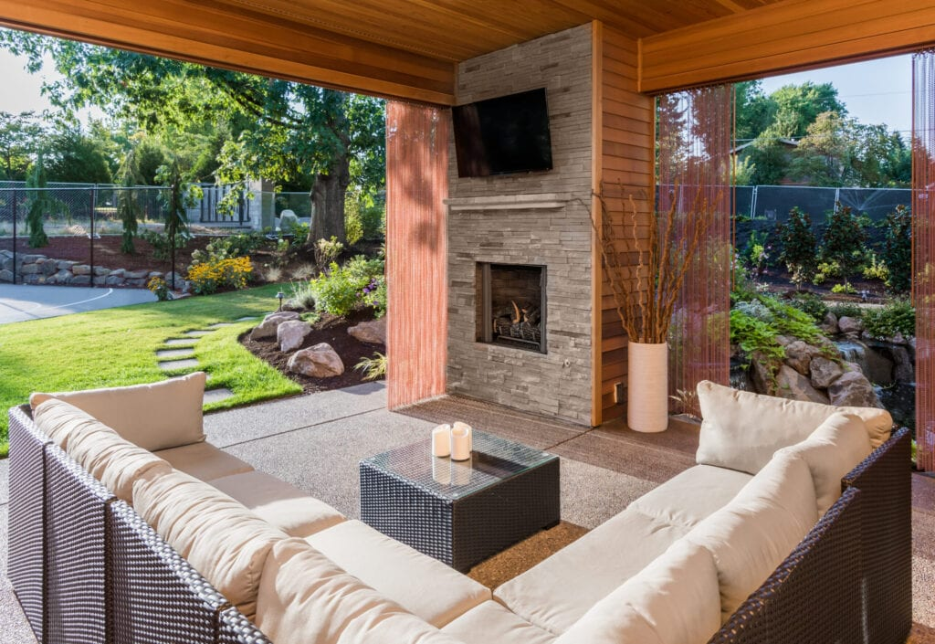 Covered outdoor patio with TV