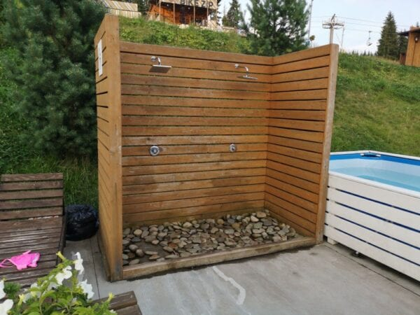 DIY outdoor shower made from wood panels