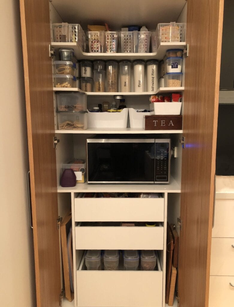 Close up of an organised pantry