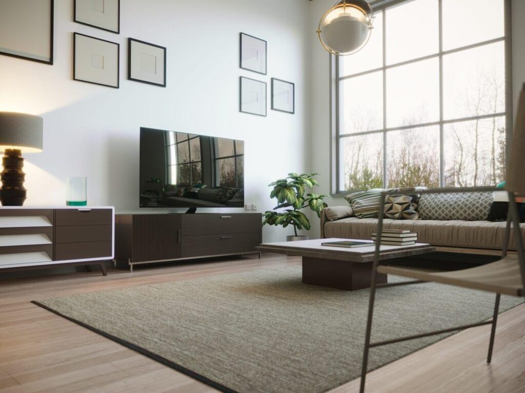 Scandinavian style designed living room interior scene on stormy weather. ( 3d render )