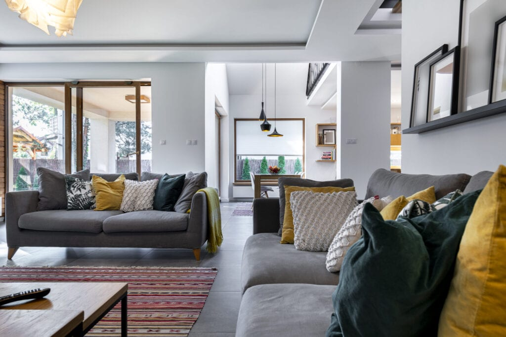 Modern interior design - living room with gray tile flooring