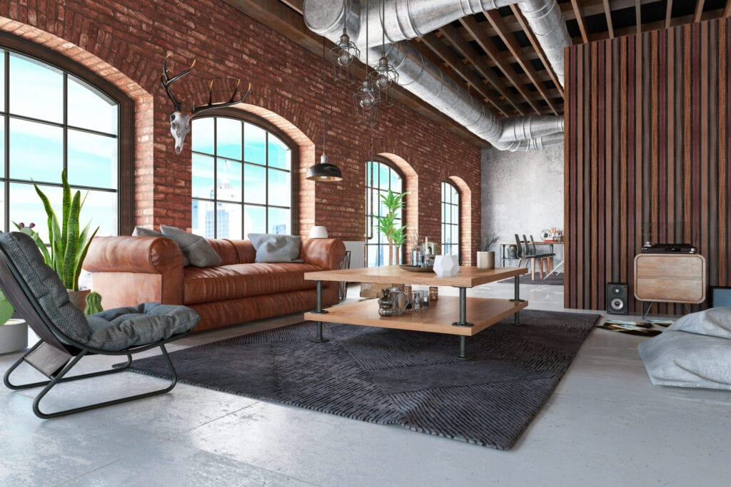 Loft Interior with Leather Sofa and Furnitures. 3D Render