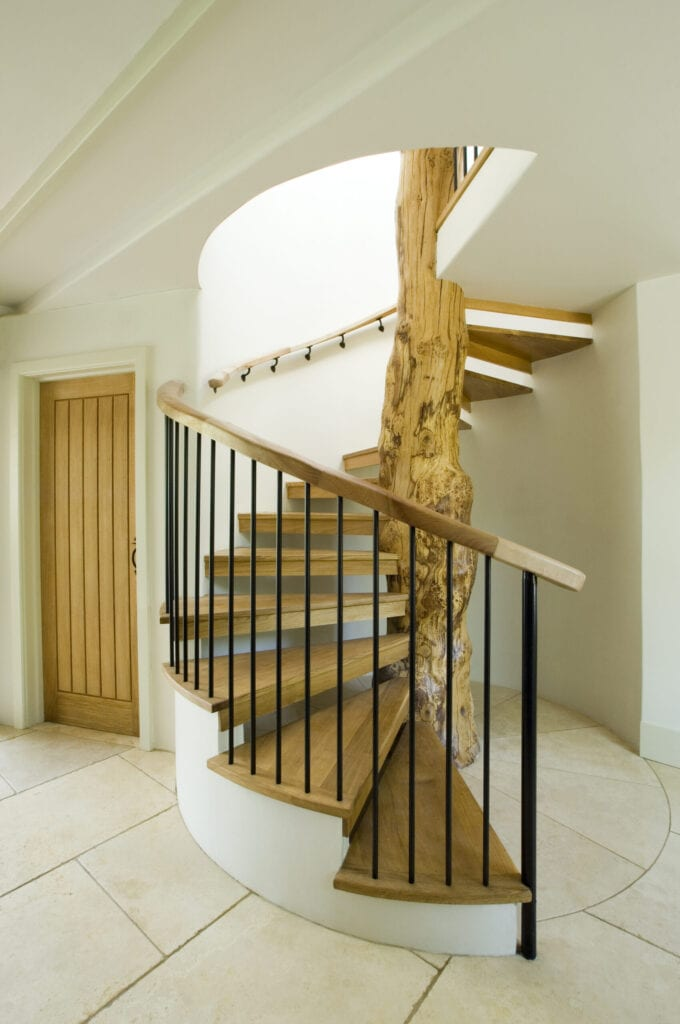 Modern staircase built around tree