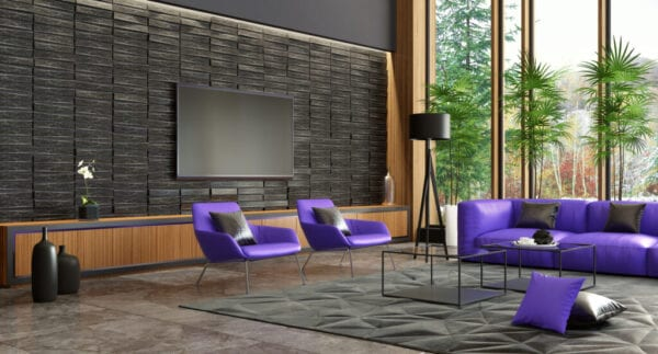 Big luxury villa interior with modern Ultra violet color 2018 furniture. Living room concept with TV.