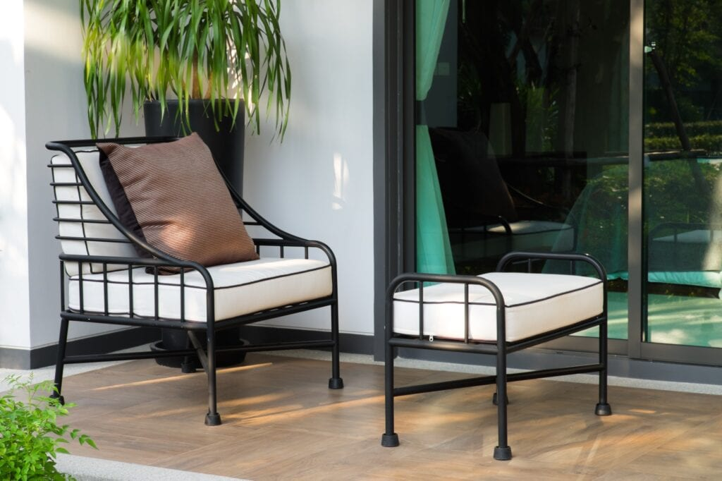 white balcony chair and stool set