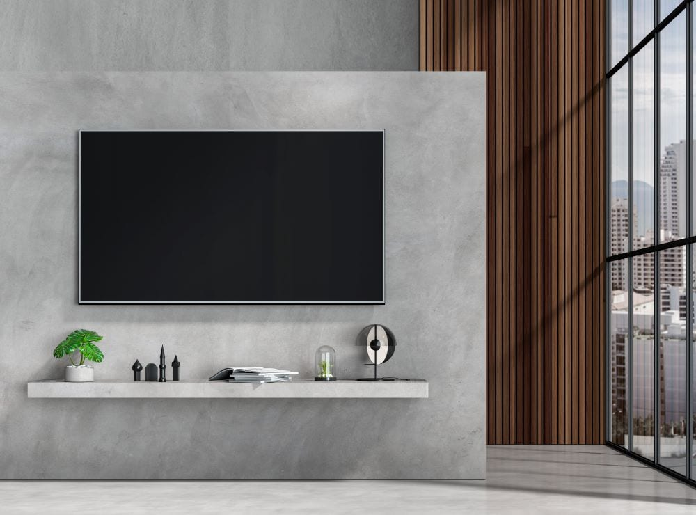 Wall mounted tv in industrial-style living room