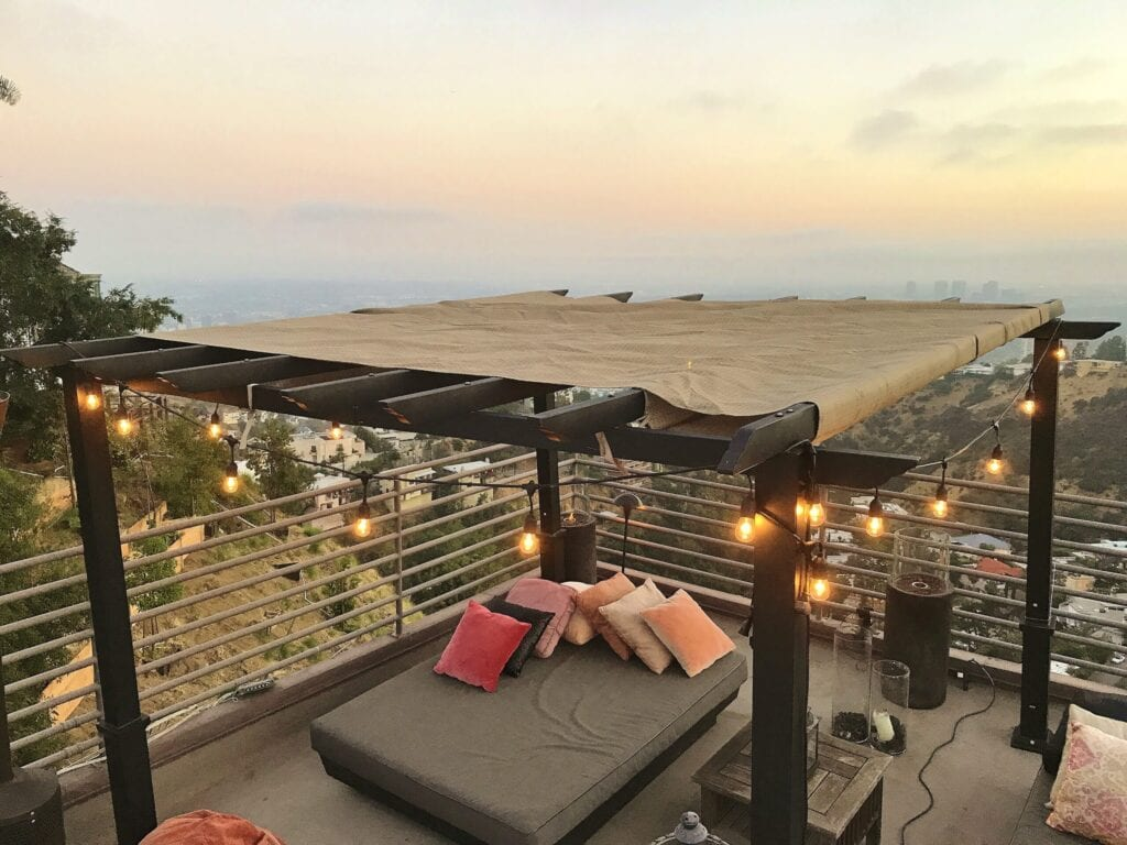 rooftop deck with bed