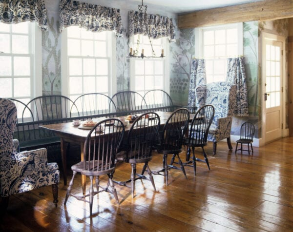 Windsor Style Bench Alongside Dining Table with Windsor Chairs