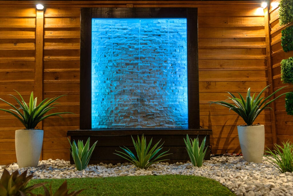 light up water wall feature