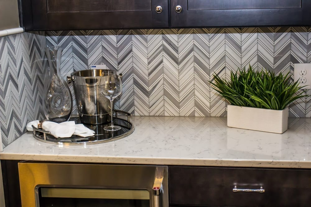 Geometric kitchen backsplash