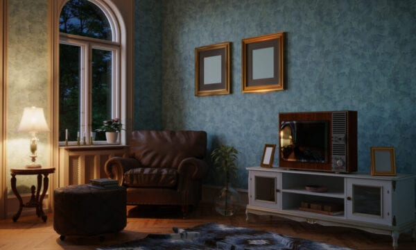 Retro Style Living Room Evening Scene