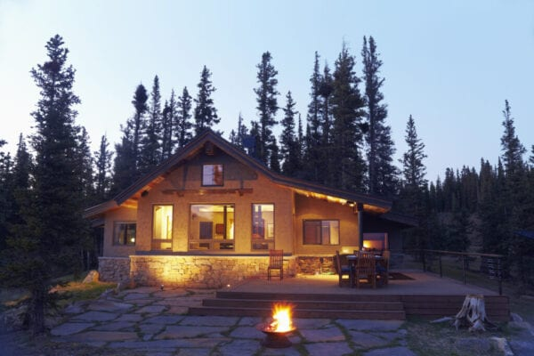 USA, Colorado, Fire pit in front of house