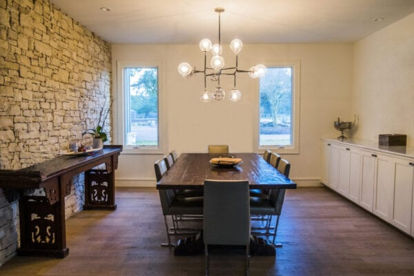 Modern Clean Domestic Dining Room with Wood Table