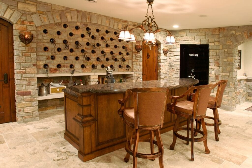 Rustic wine cellar and tasting room in luxury home