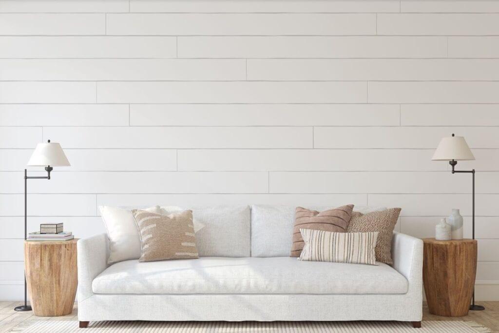 White couch in modern farmhouse living room