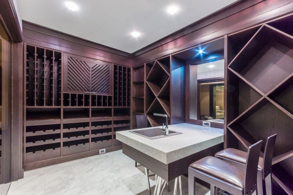 Brand new wine cellar and tasting room with unique contemporary shelves