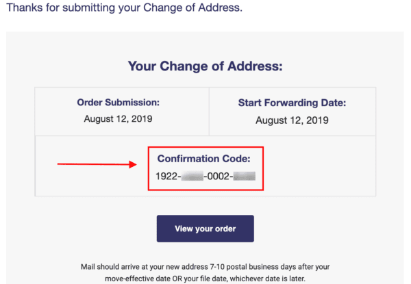 Change of address confirmation code