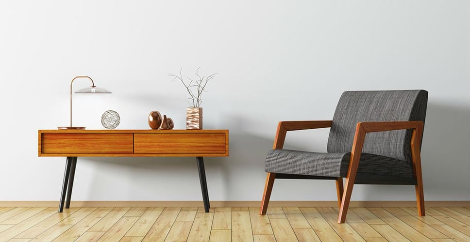 Upcycled and fashionable furniture that was bought on a shoestring budget.
