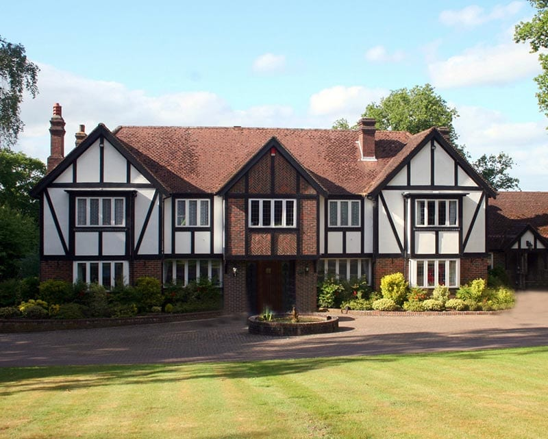 Front view of a tudor style house
