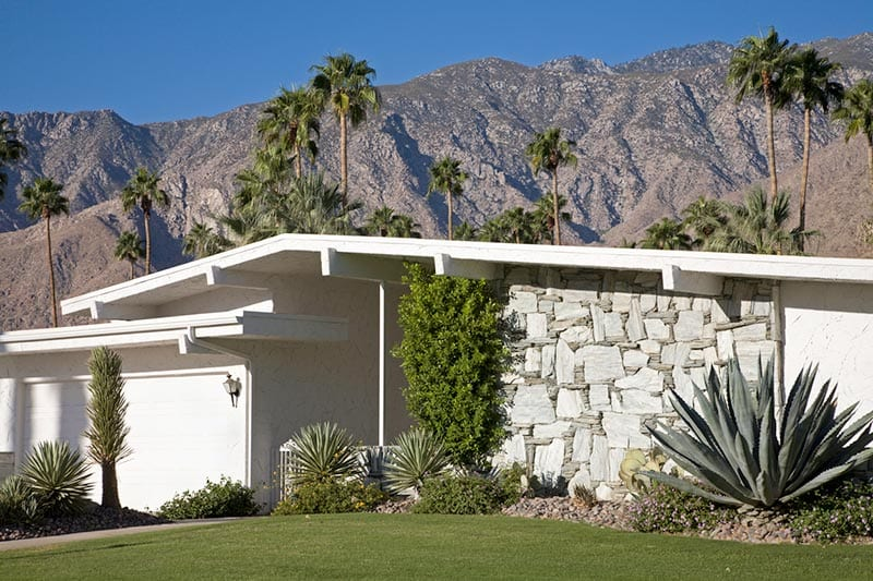 Front view of a mid-century modern style house