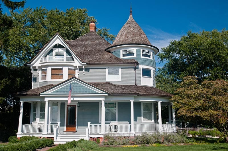 Front view of a victorian style house