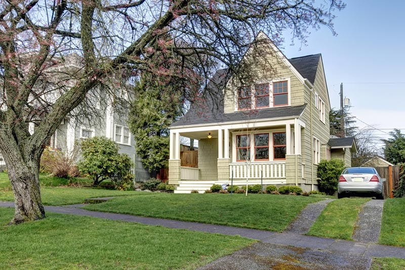 Front view of a Craftsman style house