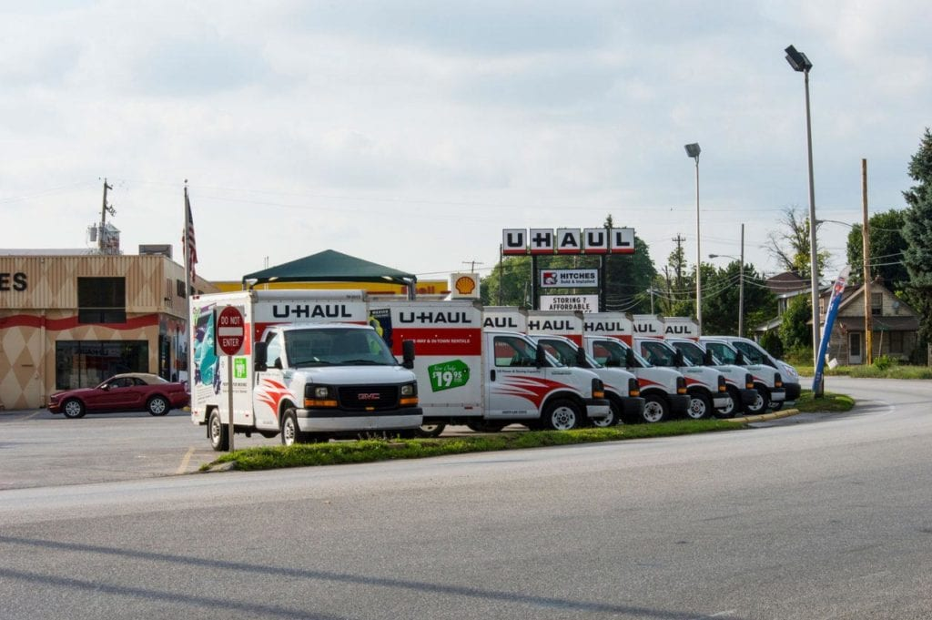 Uhaul trucks parked in a parking lot