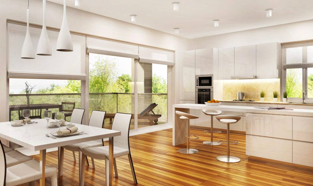 Modern large kitchen and living room