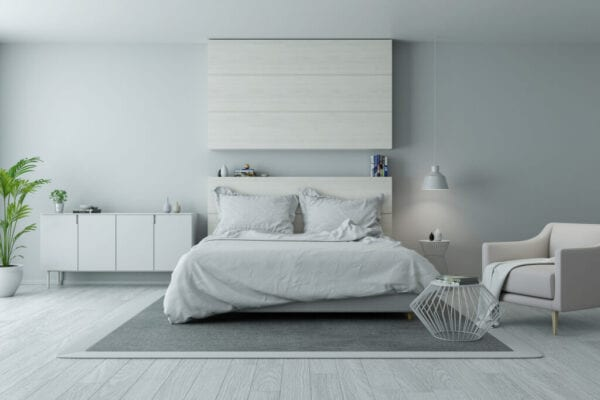 Modern And Minimalist Bedroom Design,Cozy White And Gray Room Concept