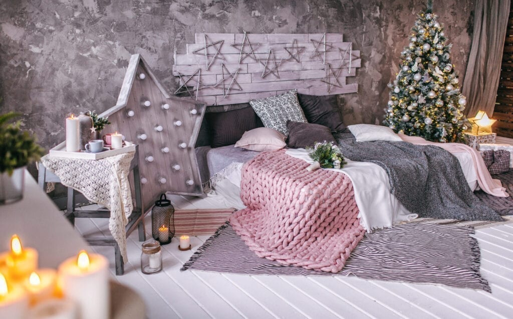 christmas decorations home bedroom interior with candlelight, christmas background indoors