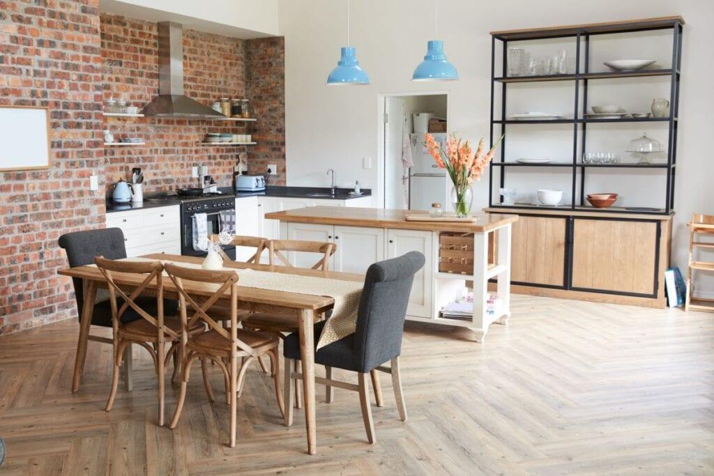 Modern industrial style kitchen with open floorplan