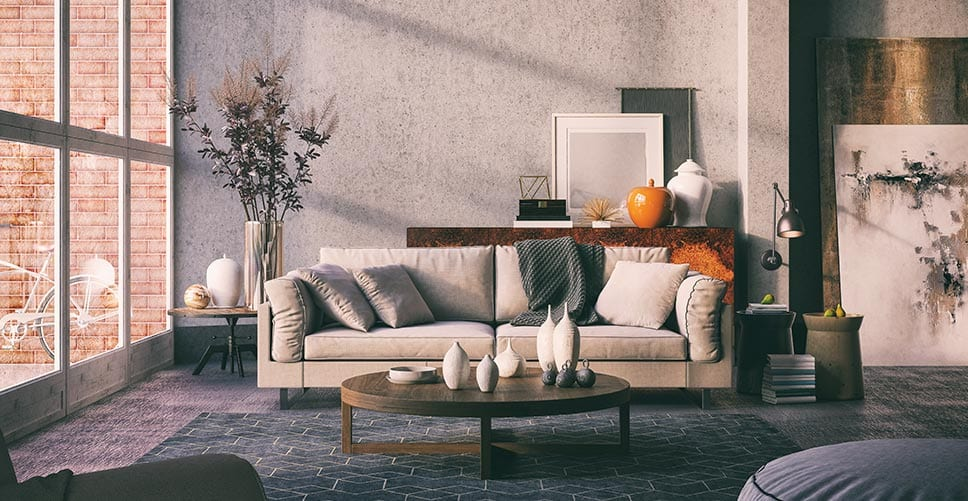 A calm, organized living room cloaked in afternoon sunlight.