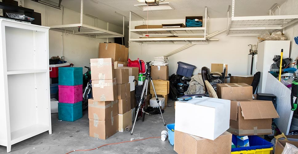 a garage filled with boxes