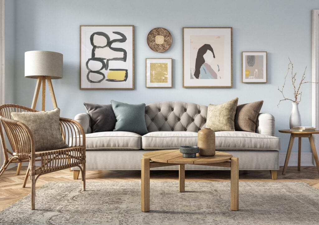 rattan accent living room Bohemian living room interior 3d render with beige colored furniture and wooden elements and light blue colored wall