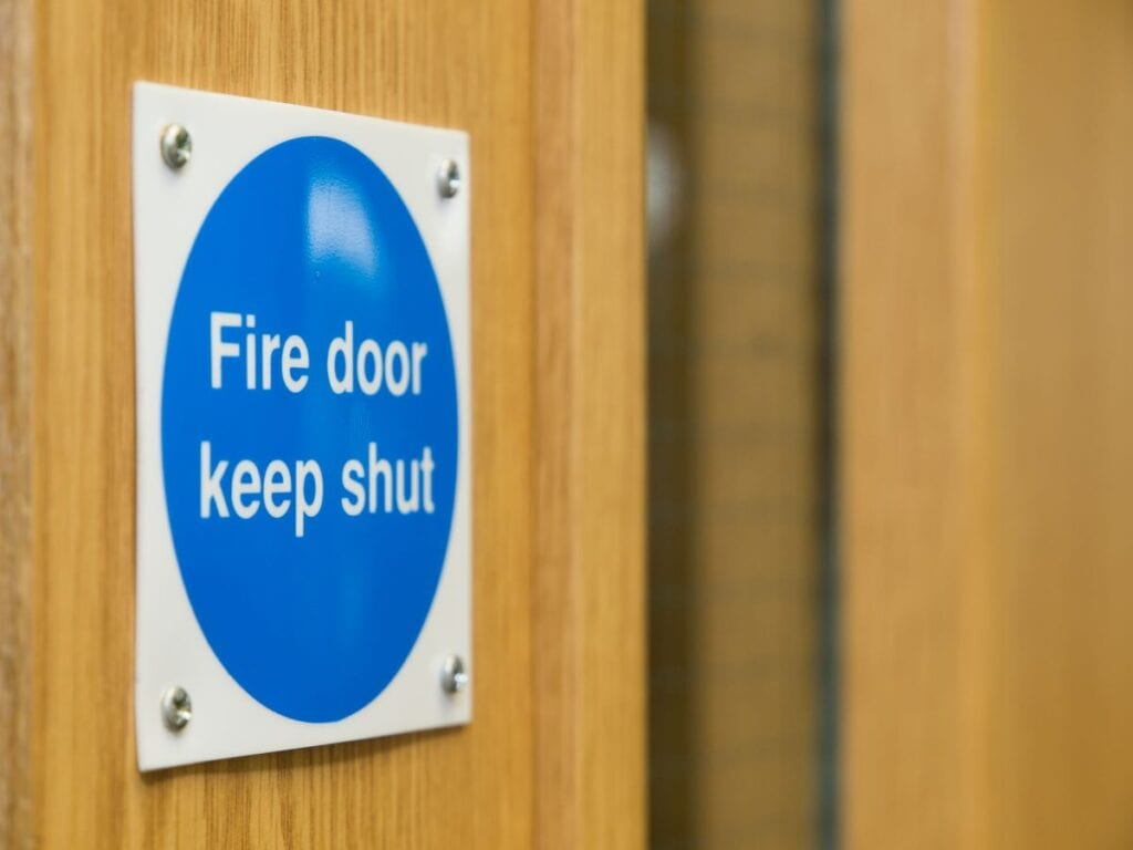 Fire door with sign that reads