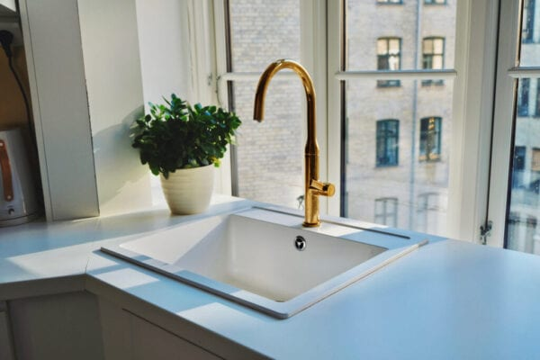 Kitchen Sink And Potted Plant By Window At Home