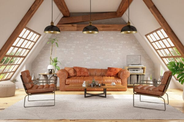 Triangle Shaped Attic Concept Living Room