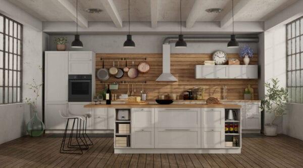 etro white kitchen in a loft